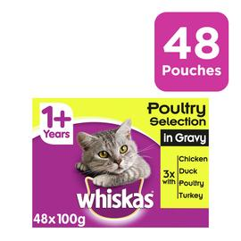 Whiskas 1+ Cat Food Pouches Poultry in Gravy 48 Pouches