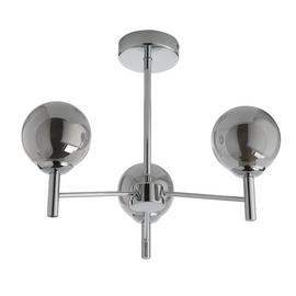 Argos Home Shelton Chrome &Smokey Glass 3Globe Ceiling Light