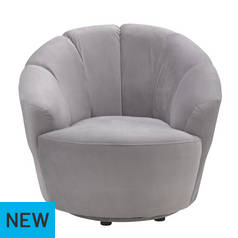 Argos Home Ezra Velvet Swival Chair - Light Grey