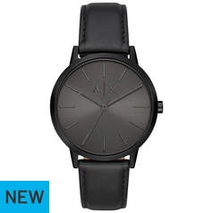 Armani Exchange Black Dial Leather Strap Watch