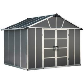 Palram Yukon Plastic 11x9ft Shed with Floor - Dark Grey