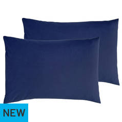 Argos Home Pair of Cotton Rich Housewife Pillowcases - Navy