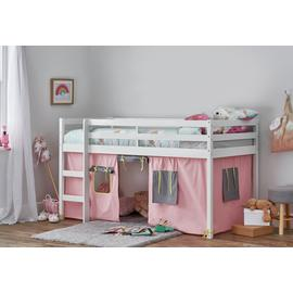 Argos Home Kaycie White Midsleeper, Rose Tent & Mattress