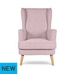Argos Home Callie Fabric Wingback Chair - Blush Pink