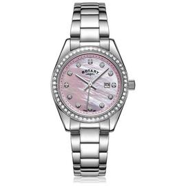 Rotary Mother of Pearl Dial Ladies Stainless Steel Watch