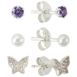 Revere Sterling Silver Butterfly Purple Stud Earrings