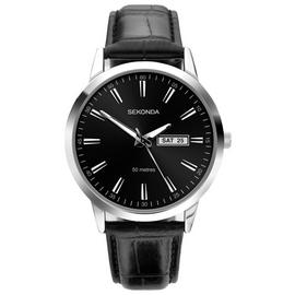 Sekonda Men's Black Leather Strap Watch
