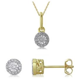 Revere 9ct Gold 0.15ct Diamond Earring and Pendant Set
