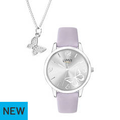 Limit Silver White Dial Ladies Watch and Pendant Set