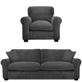 Argos Home Tammy Fabric Chair and 4 Seater Sofa - Charcoal