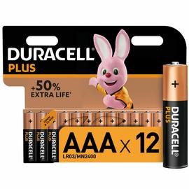Duracell Plus Alkaline AAA Batteries - Pack of 12