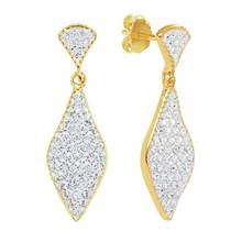Evoke 9ct Gold Plated Silver Marquise Crystal Drop Earrings
