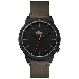 Lacoste Black Dial Mens Khaki Leather Strap Watch