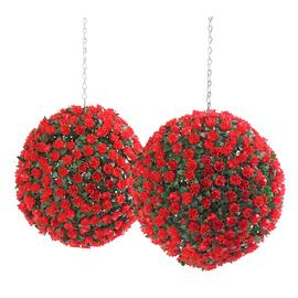 Argos Home Red Art 30cm Garden Topiary Balls x2