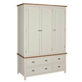 Argos Home Highbury 3 Door 4 Drawer Wardrobe - Oak & Cream