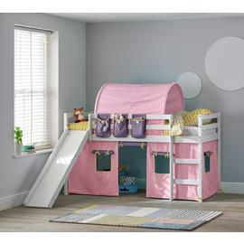 Argos Home Kaycie White Midsleeper,Slide,Rose Tent& Mattress