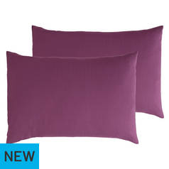 Argos Home Pair of Cotton Rich Housewife Pillowcases - Fig