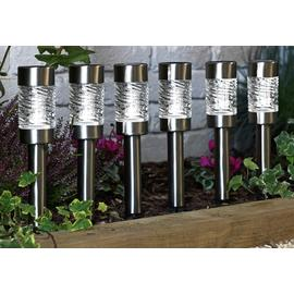 Argos Home Set of 6 Stainless Steel Solar Stake Lights