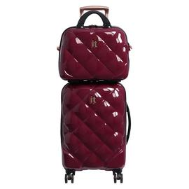 it Luggage 8 Wheel Hard Cabin Suitcase & Vanity Set - Berry