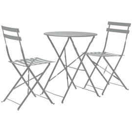 Argos Home Eve Folding 2 Seater Metal Bistro Set - Grey