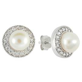 f83d7426c911cd Revere Sterling Silver Freshwater Pearls Halo Stud Earrings