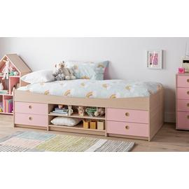 Argos Home Camden Pink & Acacia Cabin Bed & Kids Mattress