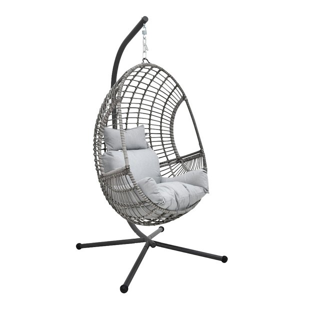 Buy Rattan Effect Hanging Egg Chair Grey Hammocks And Swing Seats Argos