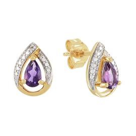 Revere 9ct Yellow Gold Amethyst Stone Stud Earrings