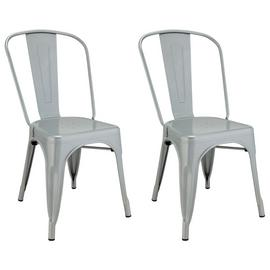 Argos Home Industrial Pair of Metal Dining Chairs - Silver