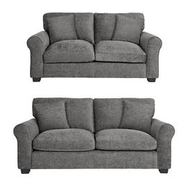Argos Home Tammy Fabric 2 Seater and 3 Seater Sofa -Charcoal