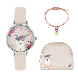 Tikkers Kids Llama Pink Faux Leather Strap Watch Gift Set