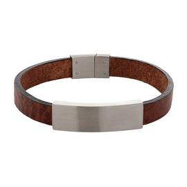 Revere Men's Brown Leather ID Bracelet