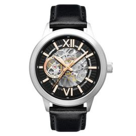 Thomas Earnshaw Men's Black Leather Strap Automatic Watch