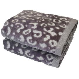 Argos Home Sparkle Leopard Pair of Hand Towels -  Grey