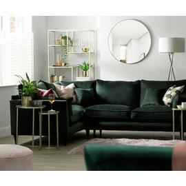 Argos Home Hector Right Corner Velvet Sofa - Green