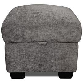 Argos Home Tammy Fabric Storage Footstool - Charcoal