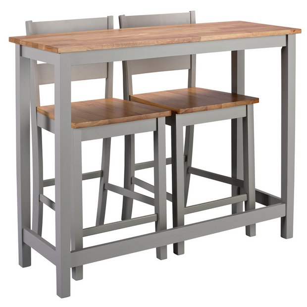 Awe Inspiring Buy Argos Home Chicago Bar Table And 2 Stools Grey Space Saving Dining Sets Argos Theyellowbook Wood Chair Design Ideas Theyellowbookinfo