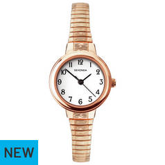 Sekonda White Dial Ladies Rose Gold Plated Strap Watch