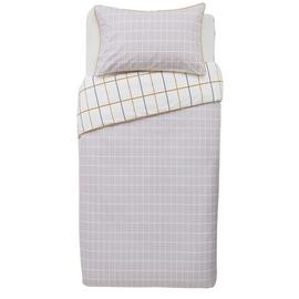 Argos Home Mustard & Grey Checked Bedding Set