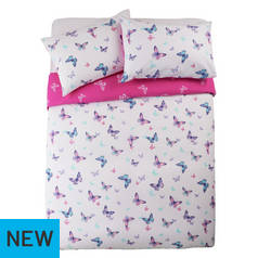 Argos Home Reverse Pink Butterfly Bedding Set - Double