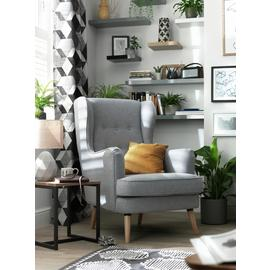 Argos Home Callie Fabric Wingback Chair- Light Grey