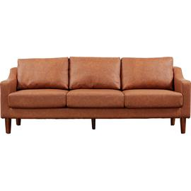 Argos Home Brixton 3 Seater Faux Leather Sofa - Tan