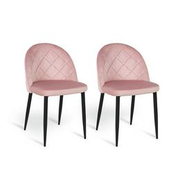 Argos Home Imogen Pair of Velvet Dining Chairs - Blush