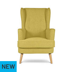 Argos Home Callie Fabric Wingback Chair - Mustard Yellow
