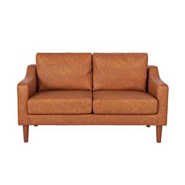 Argos Home Brixton 2 Seater Faux Leather Sofa - Tan