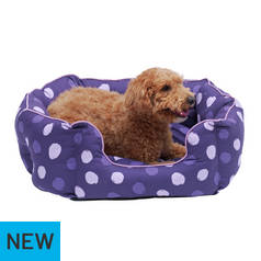 Spotted Oval Dog Bed Brown/Pink - Large