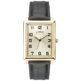 Limit Champagne Dial Mens Black Faux Leather Strap Watch