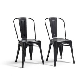 Argos Home Industrial Pair of Metal Dining Chairs-Matt Black