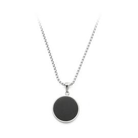 Revere Men's Stainless Steel Black Circle Pendant Necklace