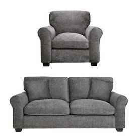 fbd8b6bfb432 Argos Home Tammy Fabric Chair and 3 Seater Sofa - Charcoal